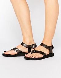 Кожаные сандалии с эффектом металлик Teva Original - Черный