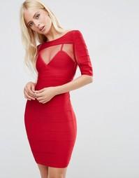 Бандажное платье с короткими рукавами Forever Unique Anousha - Красный