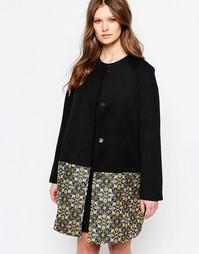 Пальто с жаккардовой отделкой кромки Traffic People Great Divide - Черный