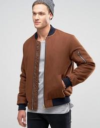 Куртка-пилот темно-рыжего цвета из смешанной шерсти с карманом MA1 ASOS - Коричневый