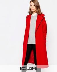 Красное пальто с широким воротником Helene Berman - Красный