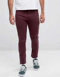 Бордовые брюки скинни с 5 карманами и рваной отделкой ASOS - Фиолетовый