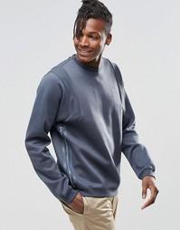 Свитшот в рубчик с круглым вырезом adidas Originals Tact AY9274 - Синий