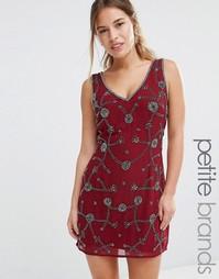Декорированное цельнокройное платье с V-образным вырезом Maya Petite - Красный