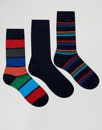 3 пары темно-синих носков в широкую полоску Pringle - Темно-синий