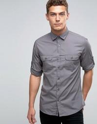 Рубашка с подвернутыми рукавами United Colors of Benetton - Серый