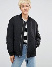Дутая куртка-пилот с контрастной подкладкой Weekday - Черный