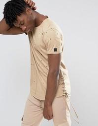 Рваная футболка со шнуровкой сбоку Black Kaviar - Бежевый