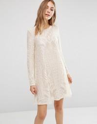 Кружевное платье с длинными рукавами BCBG Max Azria - Кремовый