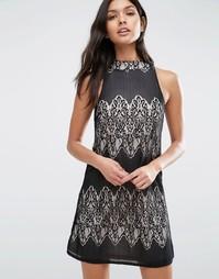 Кружевное платье с высокой горловиной Parisian - Черный