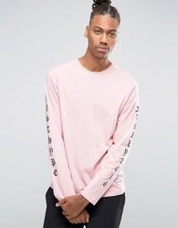 Лонгслив с принтом на рукавах Hype - Розовый