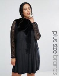 Свободное бархатное платье с кружевными рукавами Club L Plus - Черный