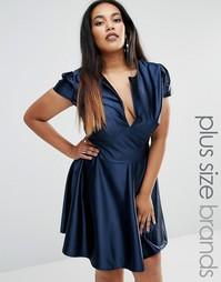 Атласное короткое приталенное платье Club L Plus Pam - Темно-синий