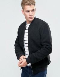 Куртка из искусственной овчины Threadbare - Черный