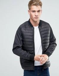 Стеганая куртка на молнии Threadbare - Черный