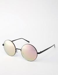 Круглые солнцезащитные очки с зеркальными стеклами Quay Australia Electric Dreams - Черный