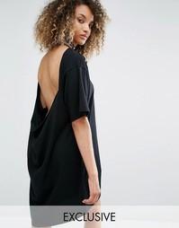 Платье-футболка с рваной отделкой и открытой спиной Milk It Vintage - Черный