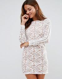 Кружевное платье мини Pixie & Diamond - Кремовый