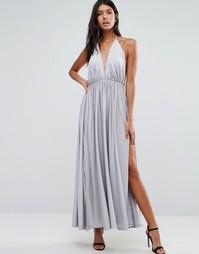 Платье макси с глубоким вырезом спереди Pixie & Diamond - Серебряный