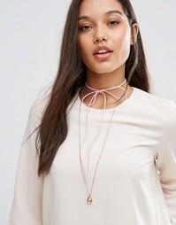 Ожерелье с розоватым замшевым чокером‑завязкой Johnny Loves Rosie - Розовый