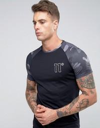 Рубашка с камуфляжными рукавами реглан 11 Degrees - Черный
