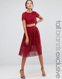 Кружевное короткое приталенное платье для выпускного True Decadence Tall - Красный