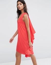 Платье с V‑образным вырезом и драпированной спинкой BCBG MAXAZRIA - Красный