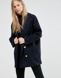 Шерстяное двубортное пальто‑бушлат Ganni Malin - Синий