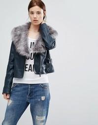 Байкерская куртка с воротником из искусственного меха Urbancode - Темно-синий