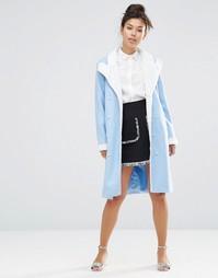 Пальто-oversize с плюшевым воротником The WhitePepper - Синий