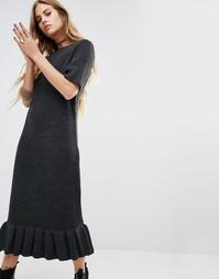 Трикотажное платье-футболка с баской по низу Rokoko - Черный