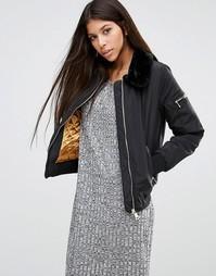 Куртка с воротником из искусственного меха Parisian - Черный