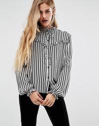 Рубашка в полоску с оборками Motel Halloween Prairie - Белый
