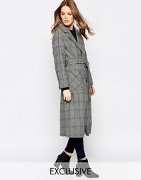 Клетчатое пальто на пуговицах с поясом Helene Berman - Серый