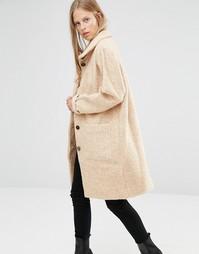 Бежевое длинное пальто с воротником-трубой Ganni - Мульти