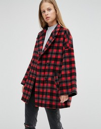 Двубортное пальто в красную клетку Ganni - Мульти