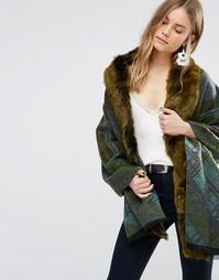 Зеленое свободное пальто в клетку с отделкой искусственным мехом Jayley - Зеленый