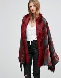 Красное свободное пальто в клетку с отделкой искусственным мехом Jayley - Красный
