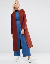 Удлиненная фактурная куртка с драпировкой Helene Berman - Коричневый