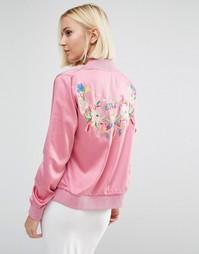 Куртка-пилот с вышивкой на спине Daisy Street - Розовый