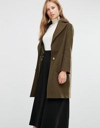 Меланжевое пальто цвета хаки Cooper & Stollbrand Drop Break - Зеленый