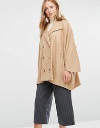 Бежевое короткое двубортное пальто в стиле oversize Cooper & Stollbrand - Рыжий