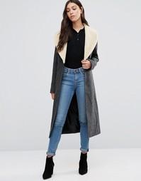 Пальто с воротником из искусственной овечьей шерсти Cooper & Stollbrand - Серый