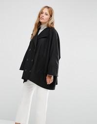 Черное короткое двубортное пальто в стиле oversize Cooper & Stollbrand - Черный