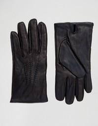Кожаные перчатки BOSS Green By Hugo Boss - Черный