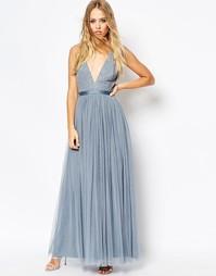 Платье макси с V-образным вырезом и юбкой из тюля Needle & Thread - Синий