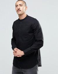 Черная рубашка без воротника с нагрудной вставкой Weekday - Черный