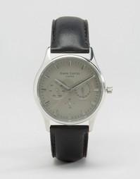 Часы с черным кожаным ремешком и серым циферблатом Simon Carter - Черный