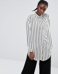 Монохромная рубашка в полоску Monki - Белый