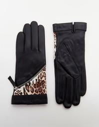 Кожаные перчатки с леопардовыми вставками Pia Rossini - Черный